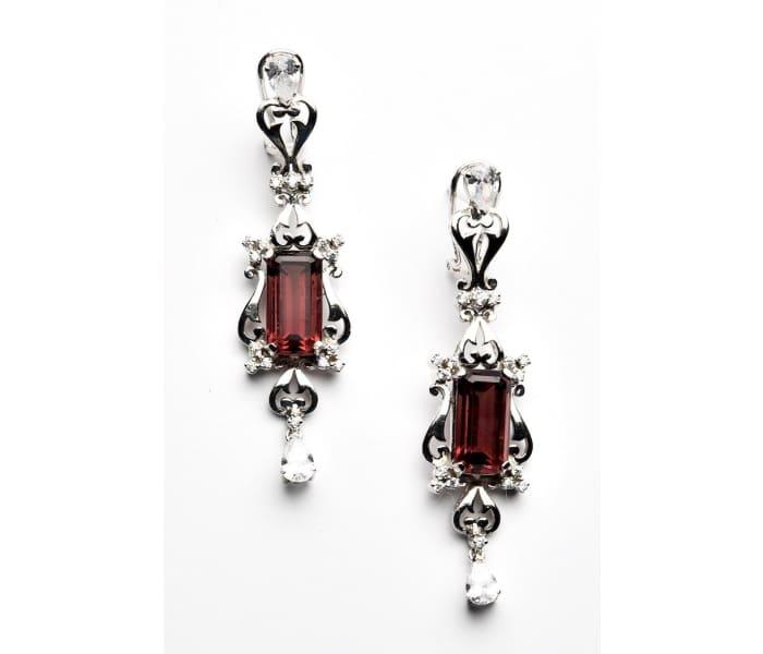 Fuchsia Inc. Ruby Drop Sterling Silver Earrings