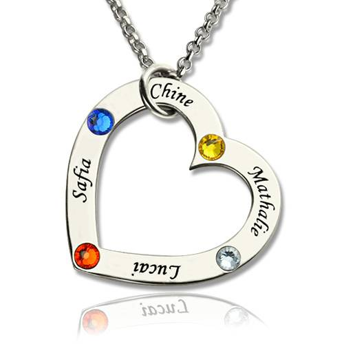 GetNameNecklace Engraved Baby Shoes Charms Necklace with Birthstones