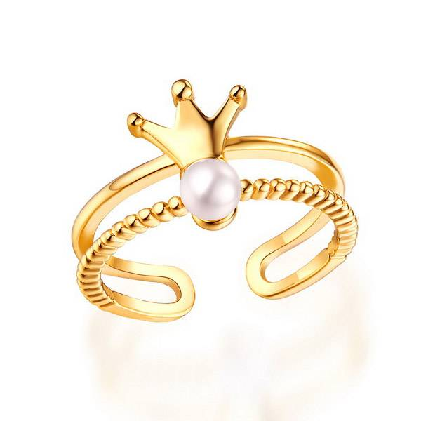 GetNameNecklace Elegant Crown Ring With Freshwater Pearl Gold Plated Silver