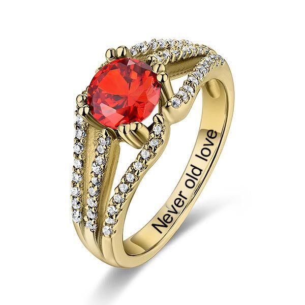 GetNameNecklace 10k/14k Engraved Halo Gemstone Bridal Ring For Special Her