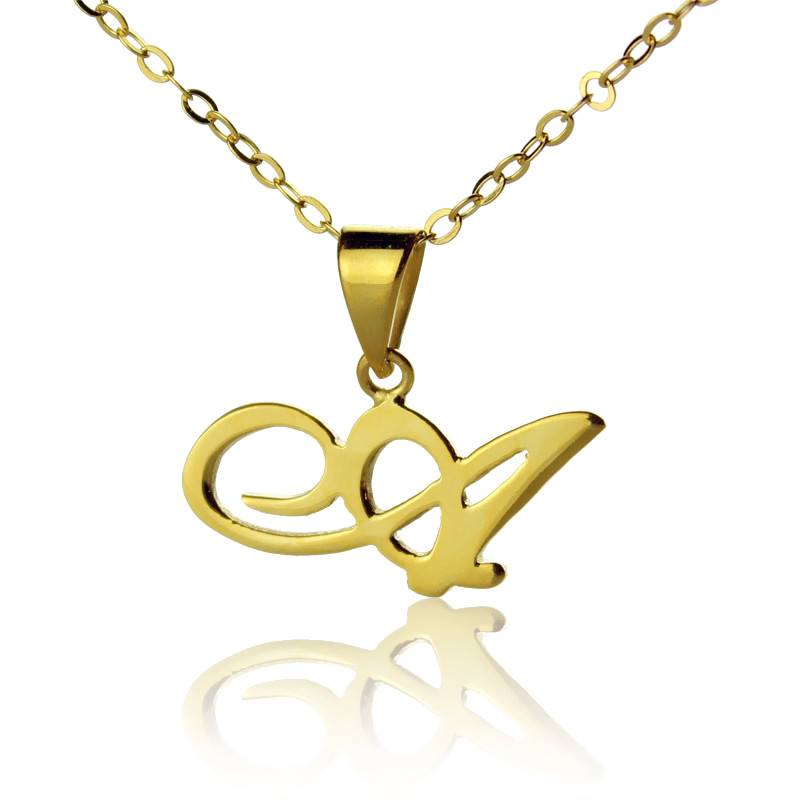 GetNameNecklace Personalized Initial Letter Necklace 18K Gold Plated