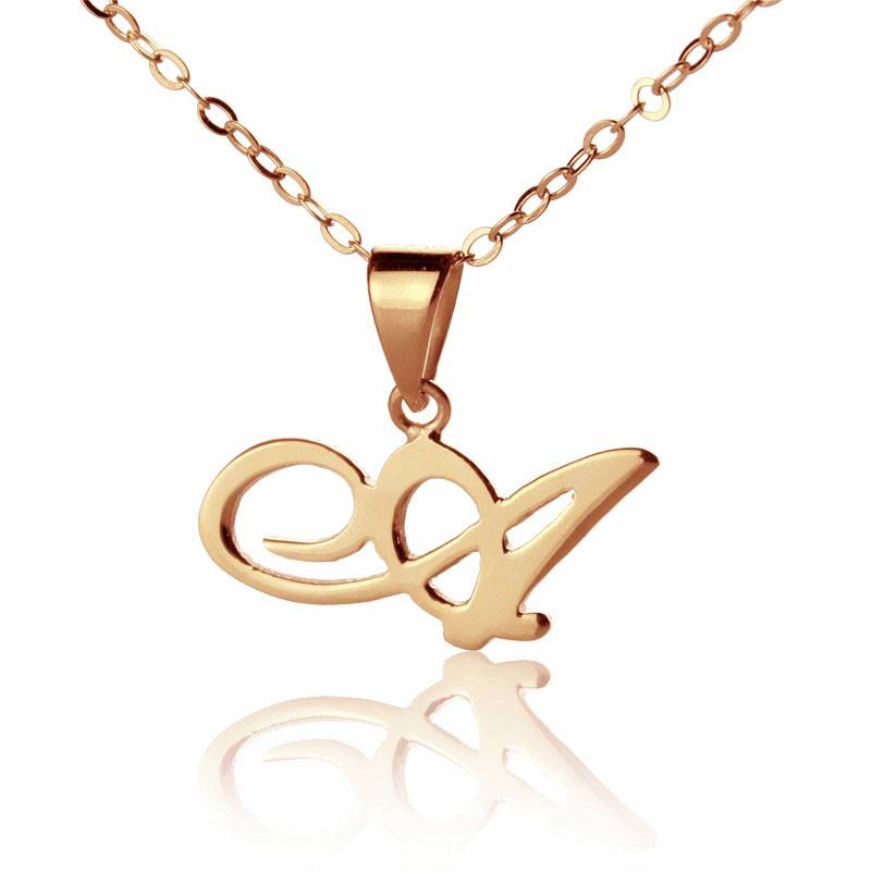 GetNameNecklace Custom Small Initial Pendant Necklace 18K Rose Gold Plated