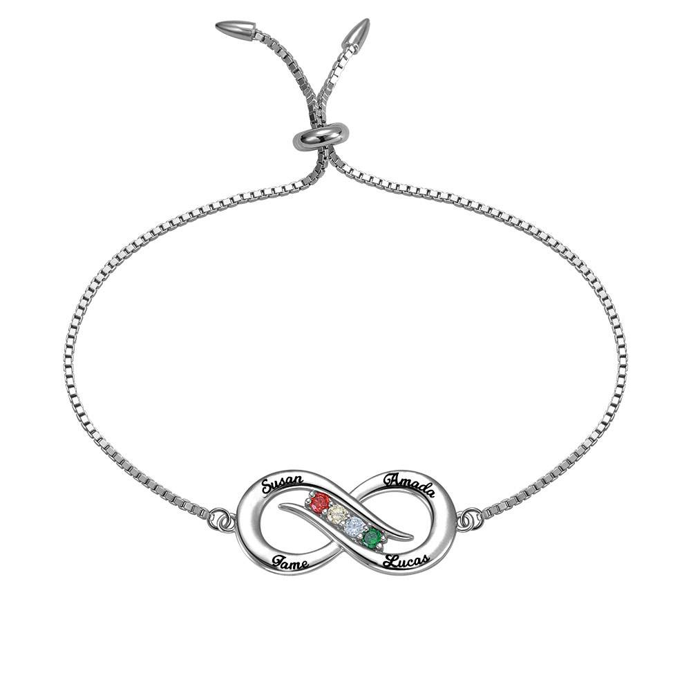 GetNameNecklace Personalized Infinity 4 names Bracelet with Birthstones in Silver