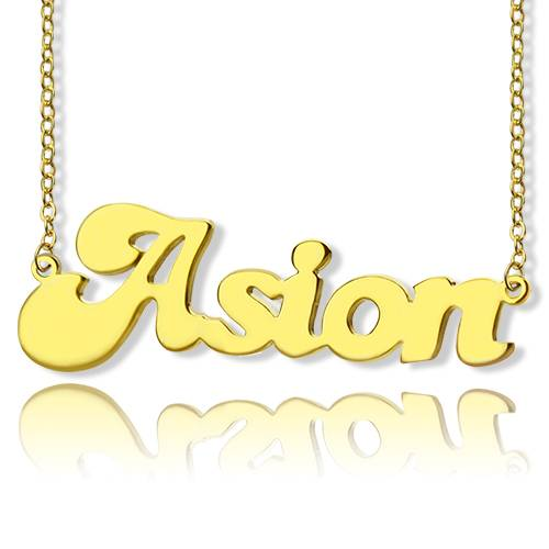 GetNameNecklace Banana Split Script Name Necklace 18K Gold Plated