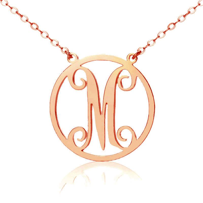 GetNameNecklace Solid Rose Gold Single Initial Circle Monogram Necklace