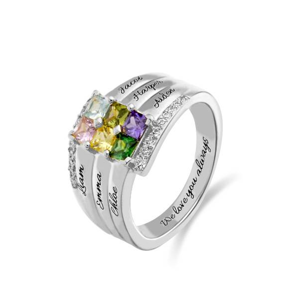 GetNameNecklace Personalized Stacking Ring with Six Birthstone in Silver
