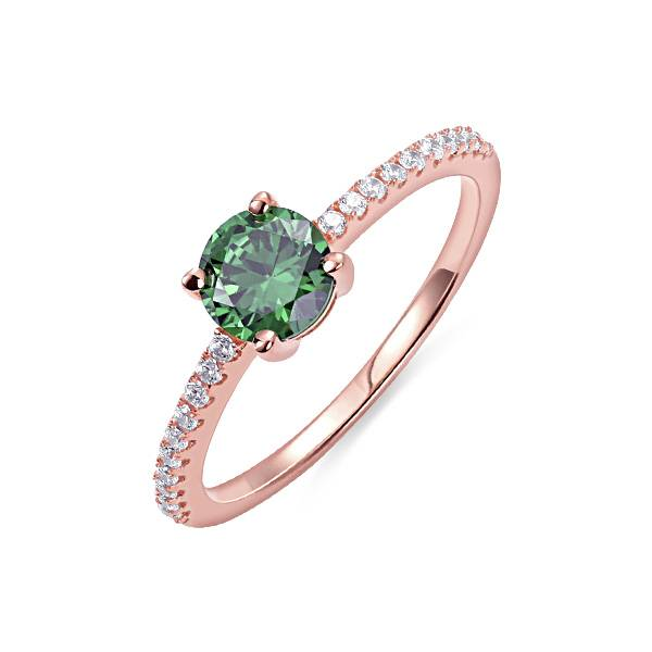GetNameNecklace Round Birthstone Ring in Rosegold