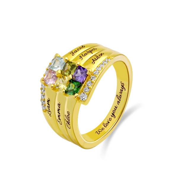 GetNameNecklace Personalized Stacking Ring with Six Birthstone in Gold