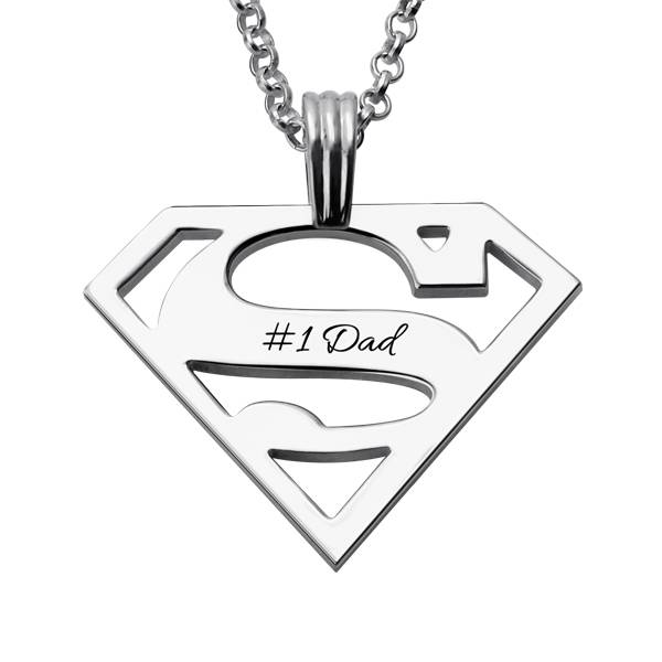 GetNameNecklace Personalized Gift for Men: Superman Necklace Sterling Silver