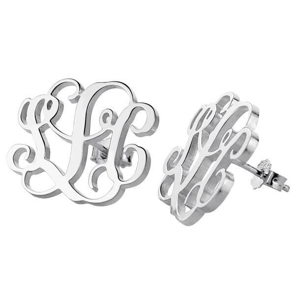 GetNameNecklace Handmade Monogram Stud Earrings In Sterling Silver