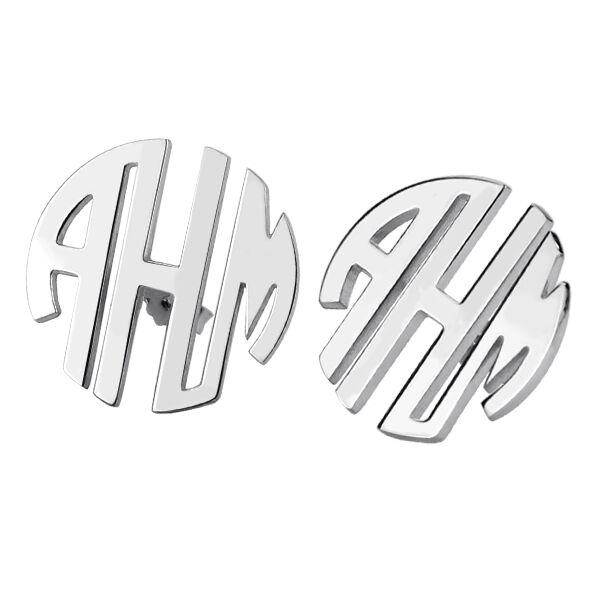 GetNameNecklace Custom Block Monogram Stud Earrings Sterling Silver