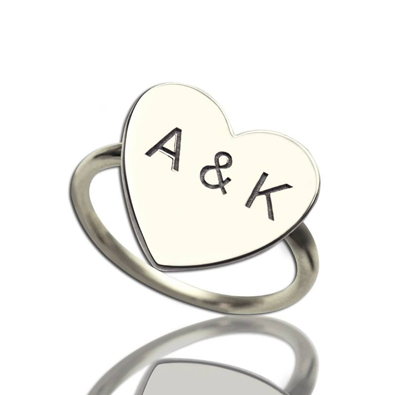 GetNameNecklace Engraved Sweetheart Ring with Double Initials Sterling Silver