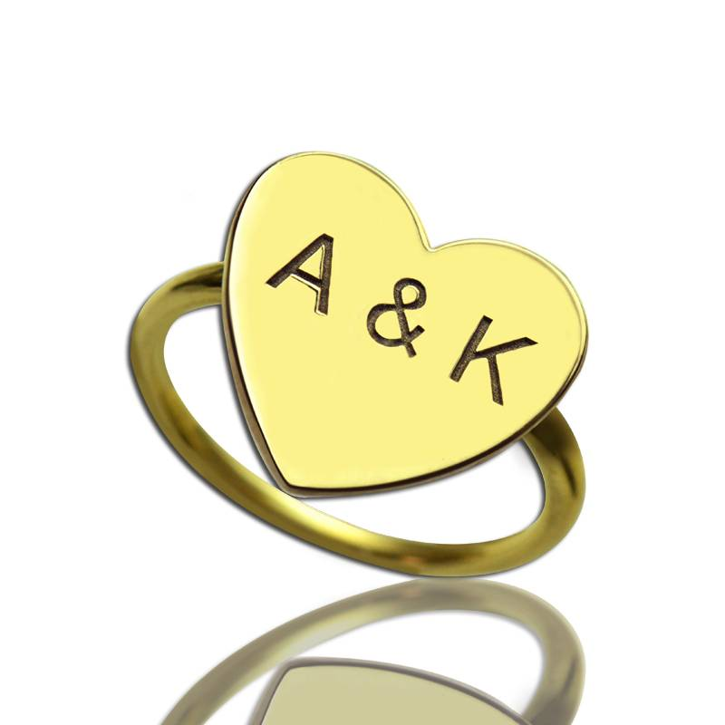 GetNameNecklace Engraved Sweetheart Ring with Double Initials 18k Gold Plated