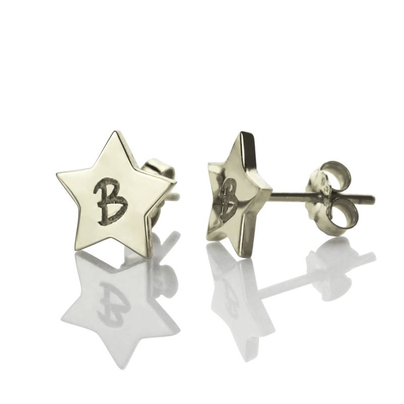 GetNameNecklace Personalized Star Stud Initial Earrings In Silver