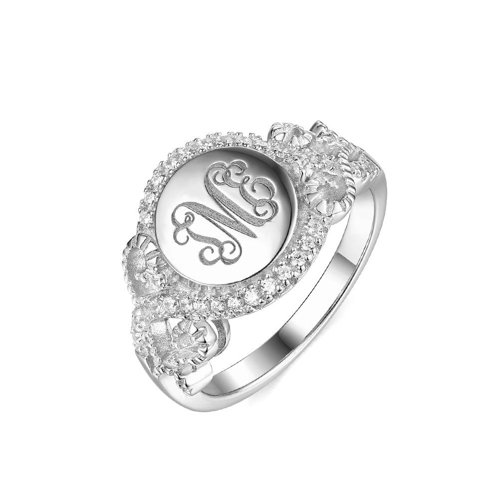 GetNameNecklace Personalized Round CZ Monogram Ring