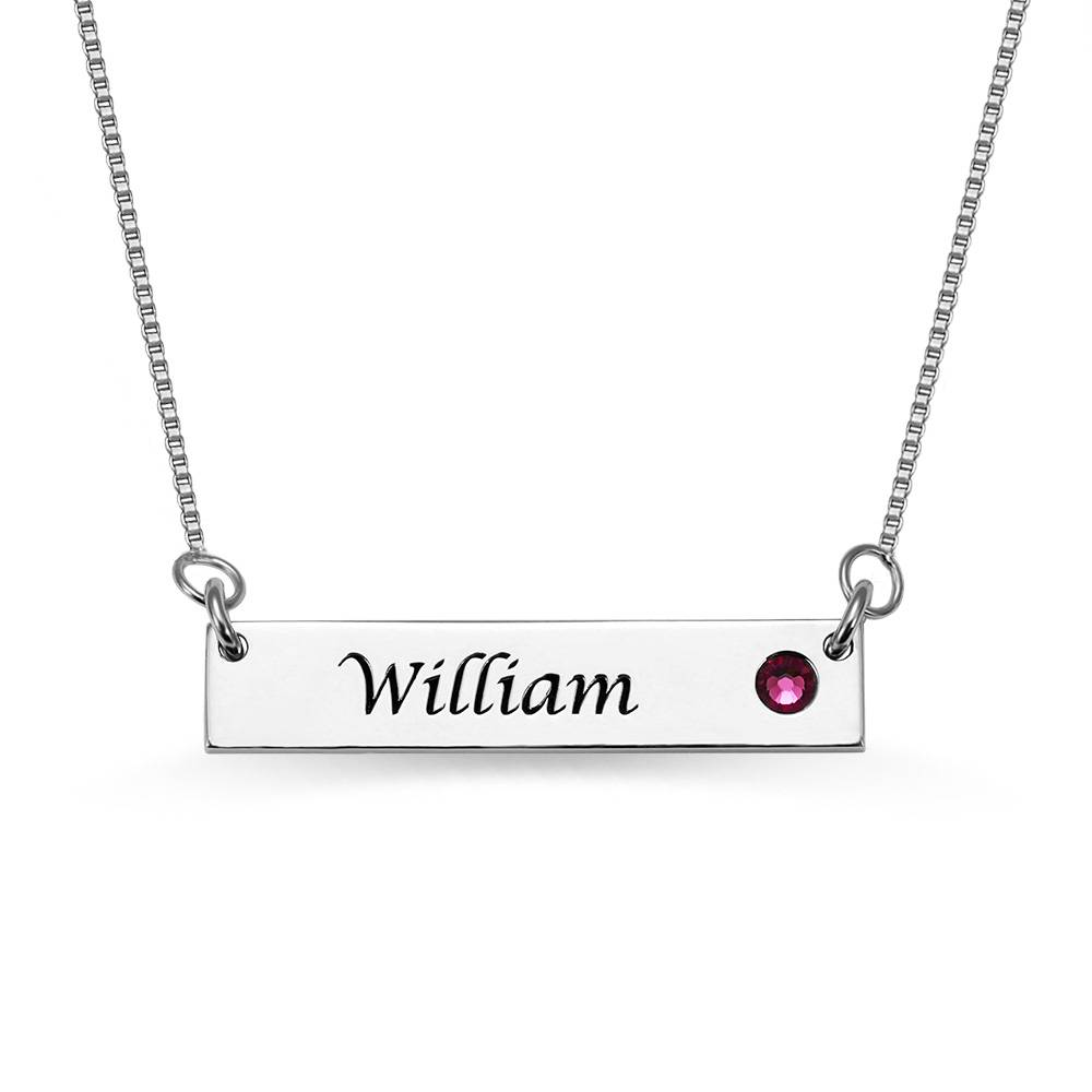 GetNameNecklace Nameplate Bar Necklace with Birthstone Silver