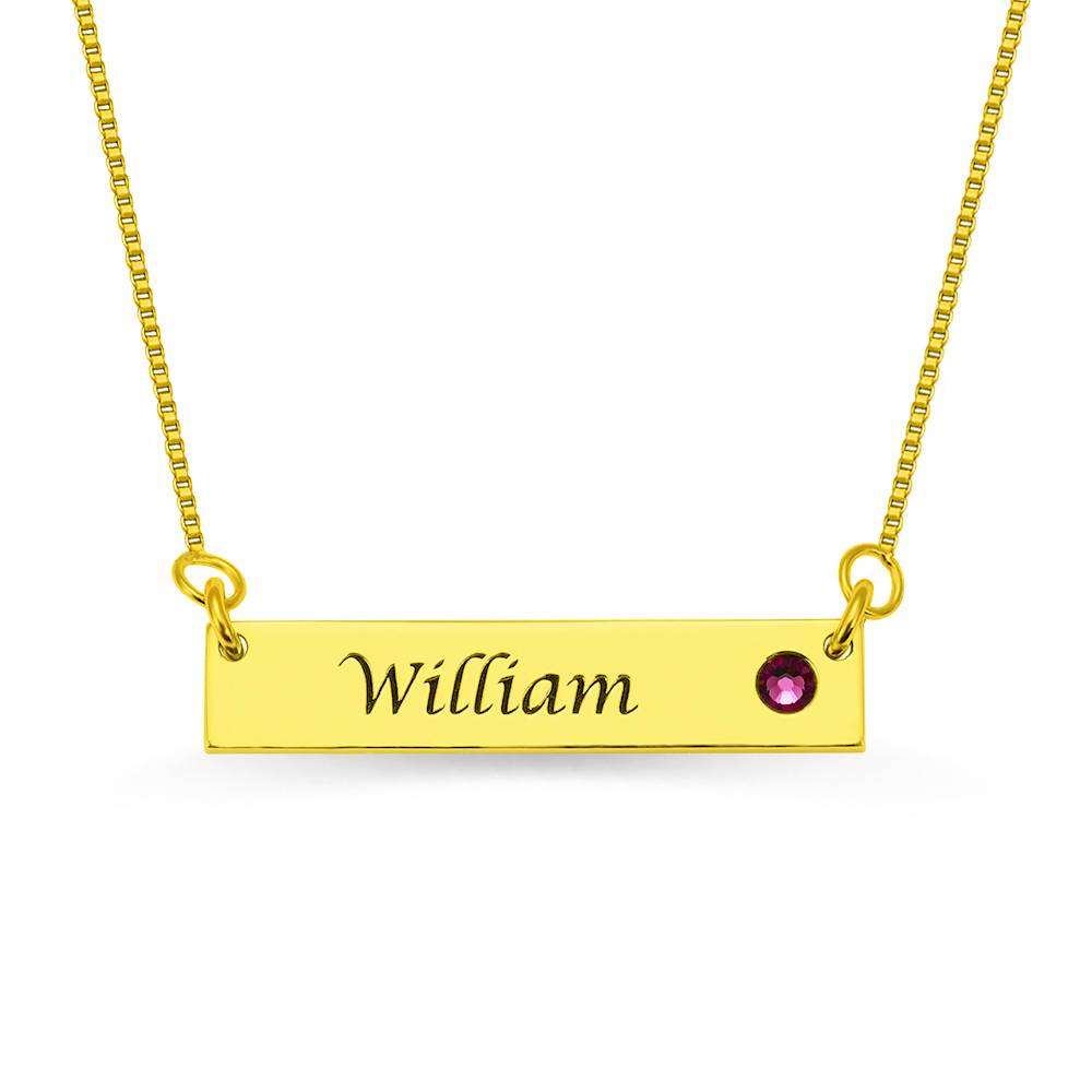 GetNameNecklace Name Bar Necklace with Birthstone 18K Gold Plated