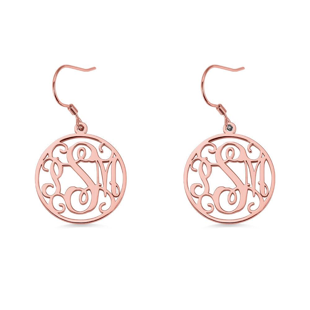 GetNameNecklace Circle Monogram Initial Earrings Rose Gold