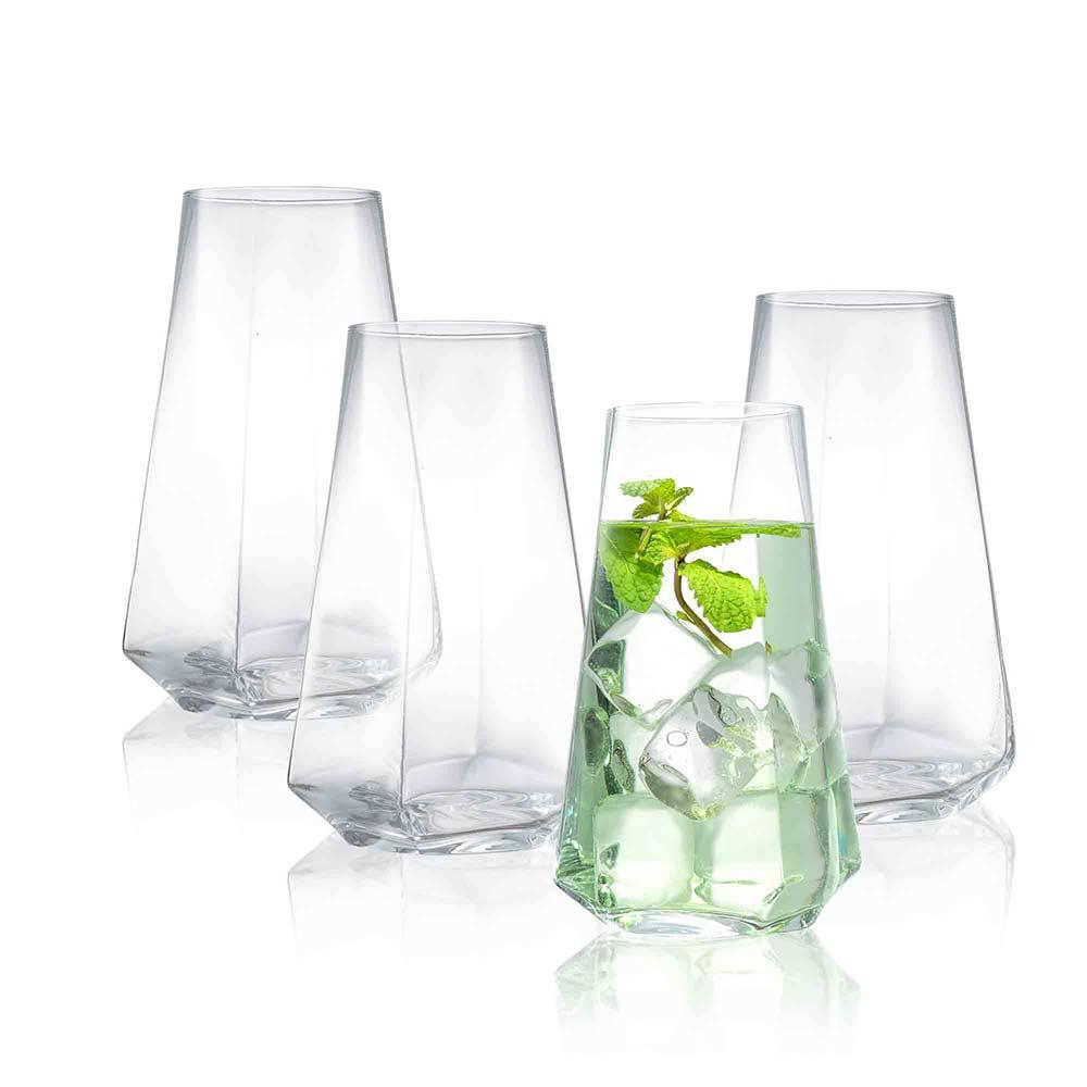JoyJolt Infiniti Highball Glasses Set of 4