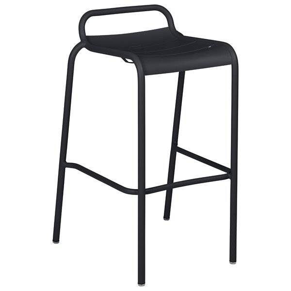 Fermob Luxembourg Low Back High Stool Set of 2 - Color: Black - 411247