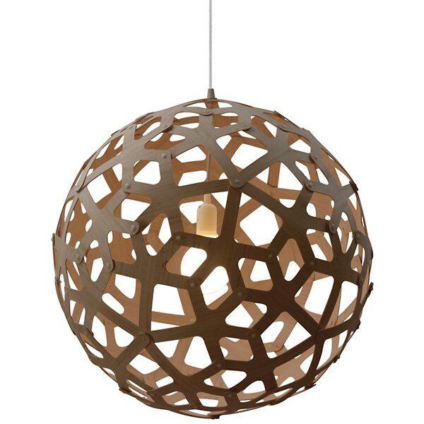 "David Trubridge Coral Pendant Light - Color: Wood tones - Size: 47"" - COR-1200-CAR-CAR-COR-1200-SEM-ASM"