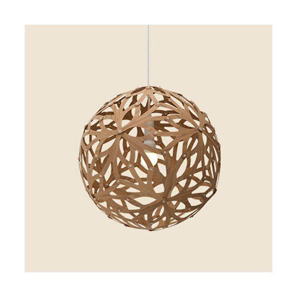 """David Trubridge Floral Pendant Light - Color: Wood tones - Size: 16"""" - FLO-0400-CAR-CAR-FLO-0400-ASM-PAK"""
