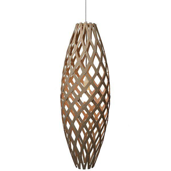 "David Trubridge Hinaki Pendant Light - Color: Wood tones - Size: 35"" - HIN-0900-CAR-CAR-HIN-0900-SEM-ASM"