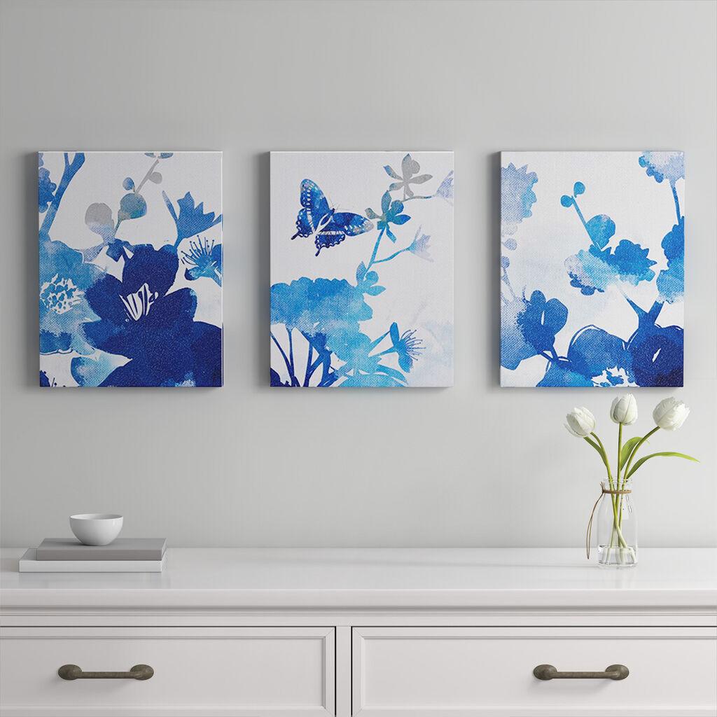 Madison Park - Cobalt Garden Gel Coated Canvas 3 Piece Set - Blue - See below