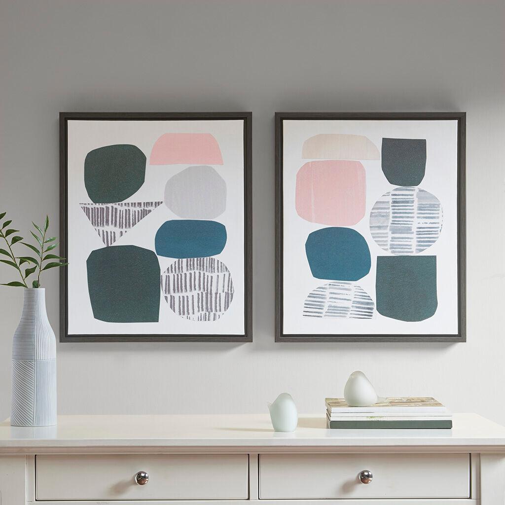 Urban Habitat - Grey Rock Garden Gel Coat Framed Canvas 2 Piece Set - Multi - See below