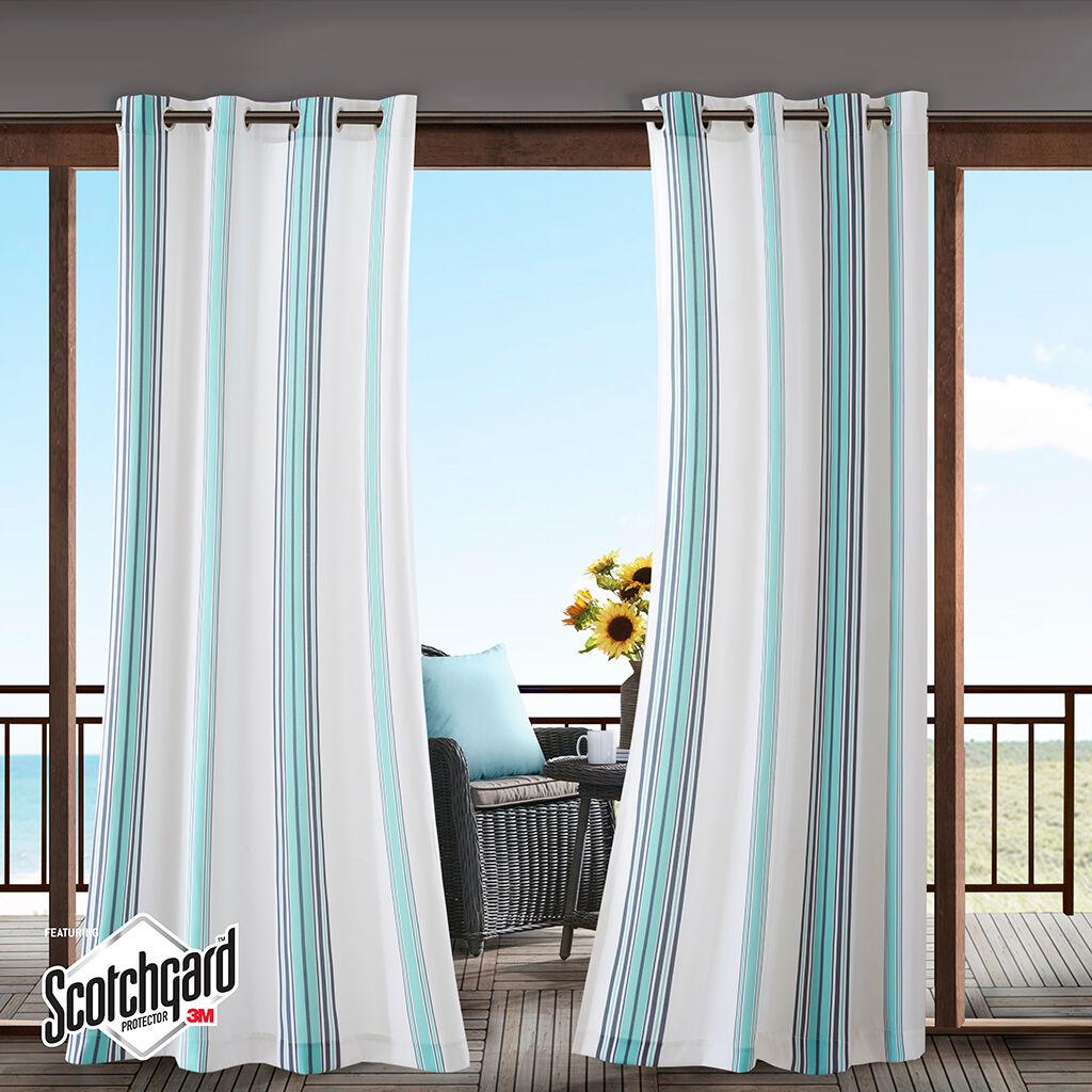 "Madison Park - Newport Printed Stripe 3M Scotchgard Outdoor Panel - Blue - 54x84"""