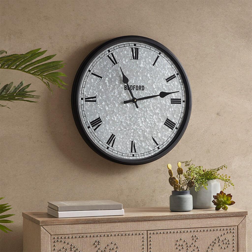 Martha Stewart - Otis Galvanized Round Clock - Silver/Black - See below