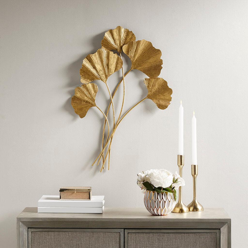 Martha Stewart - Celeste Gold Foil Ginkgo Leaf Wall Art - Gold - See below