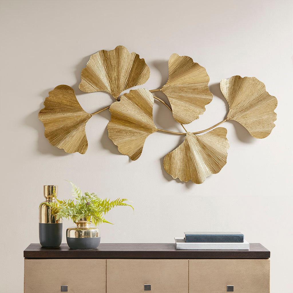 Martha Stewart - Faye Gold Foil Ginkgo Leaf Wall Art - Gold - See below