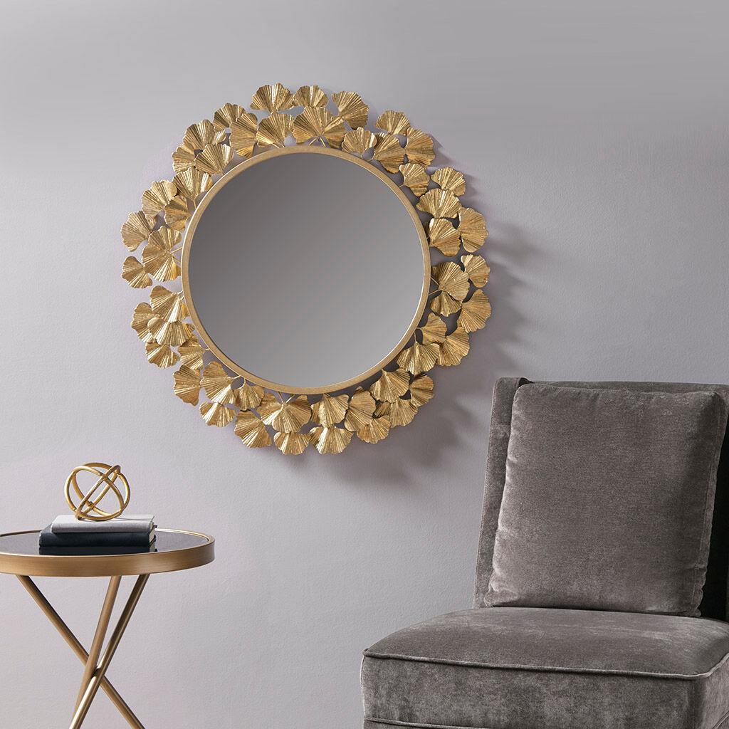 Martha Stewart - Eden Gold Foil Ginkgo Mirror - Gold - See below
