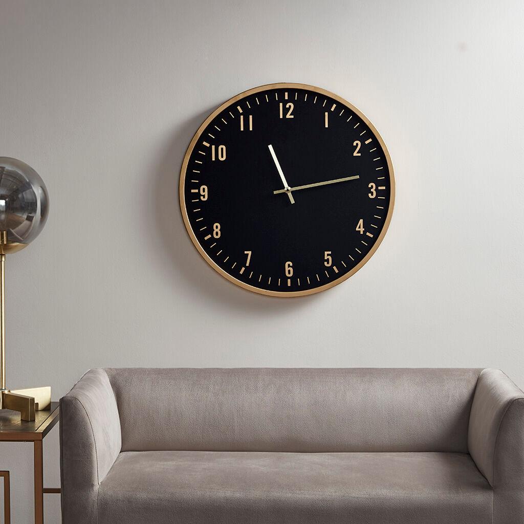 Martha Stewart - Watson Round Clock - Black/Gold - See below