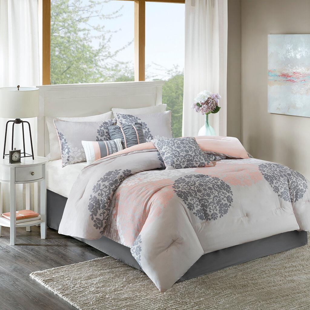 Home Essence - Springfield 7 Piece Comforter Set - Coral - Queen