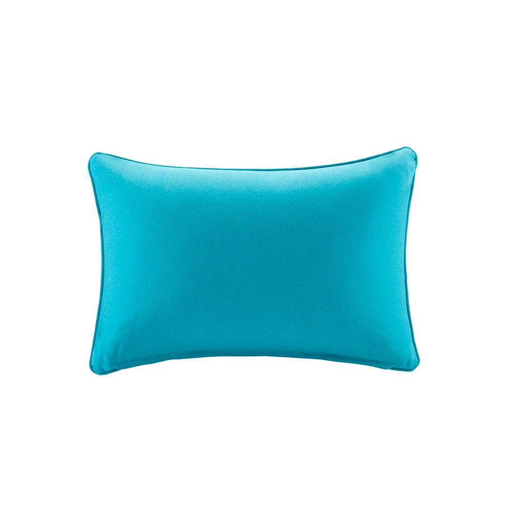 "Madison Park - Pacifica Solid 3M Scotchgard Outdoor Oblong Pillow - Aqua - 14x20"""
