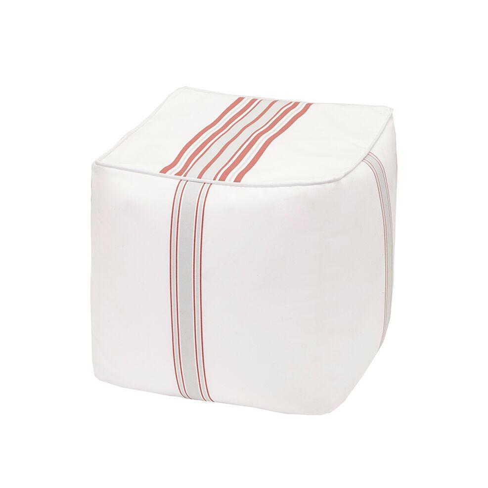 "Madison Park - Newport Printed Stripe 3M Scotchgard Outdoor Square Pouf - Coral - 18x18x18"""
