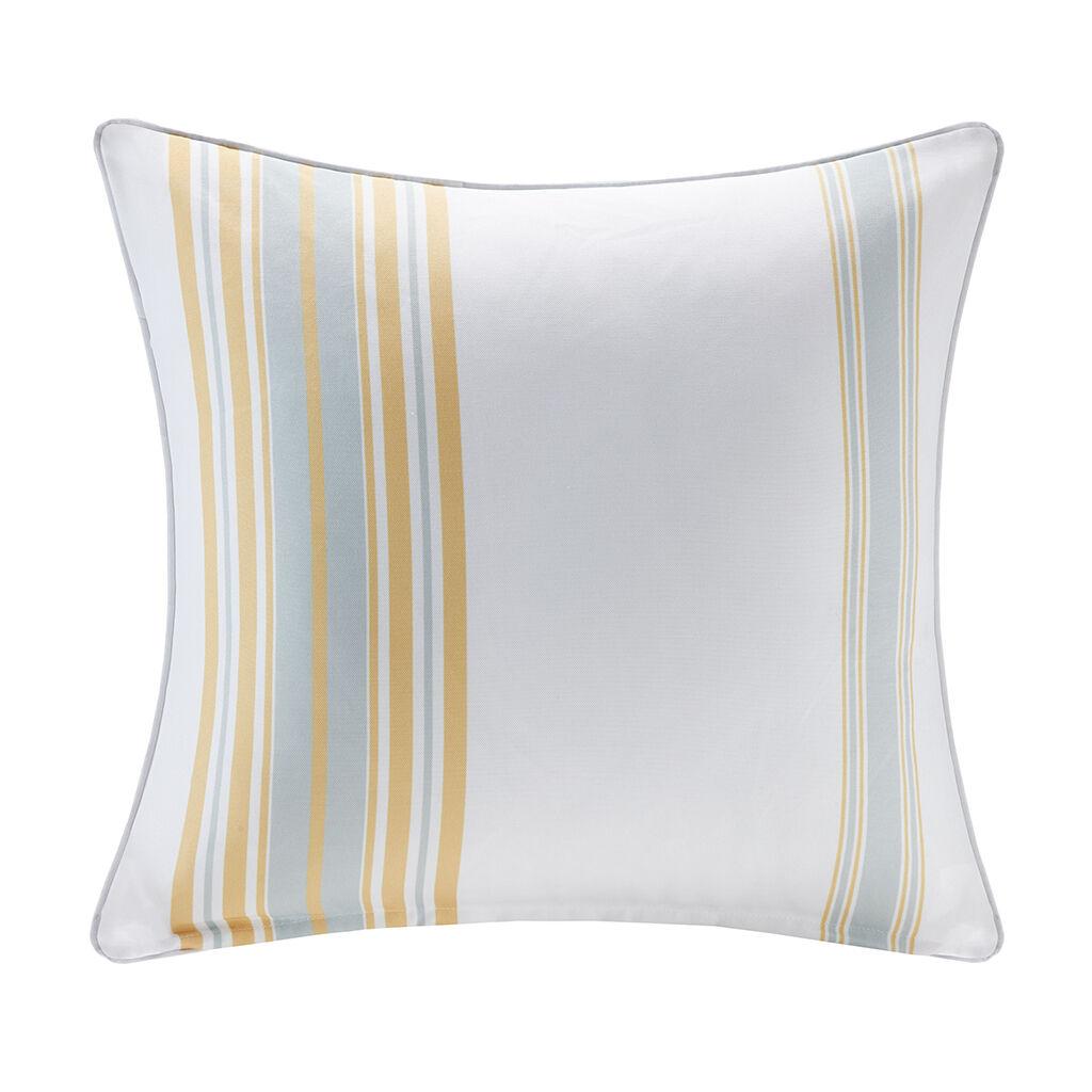 "Madison Park - Newport Printed Stripe 3M Scotchgard Outdoor Square Pillow - Yellow - 20x20"""