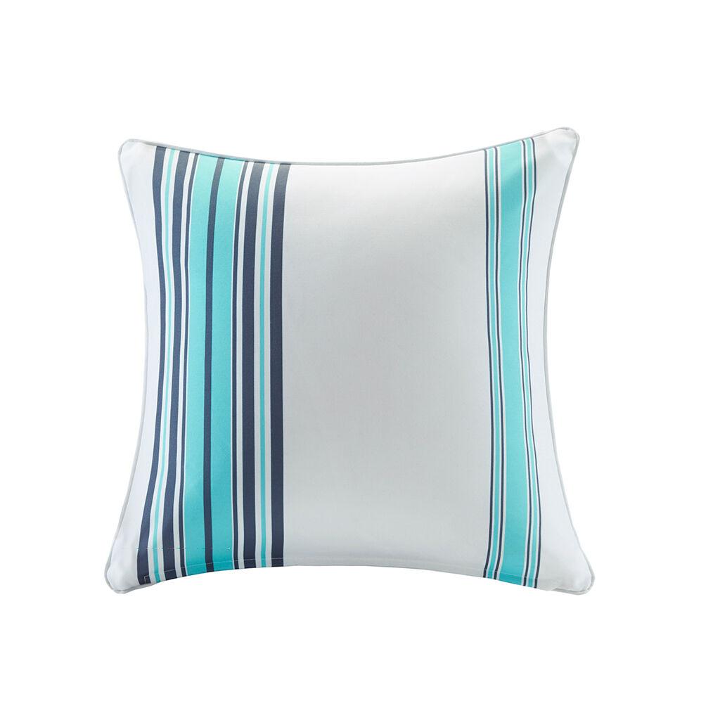 "Madison Park - Newport Printed Stripe 3M Scotchgard Outdoor Square Pillow - Blue - 20x20"""