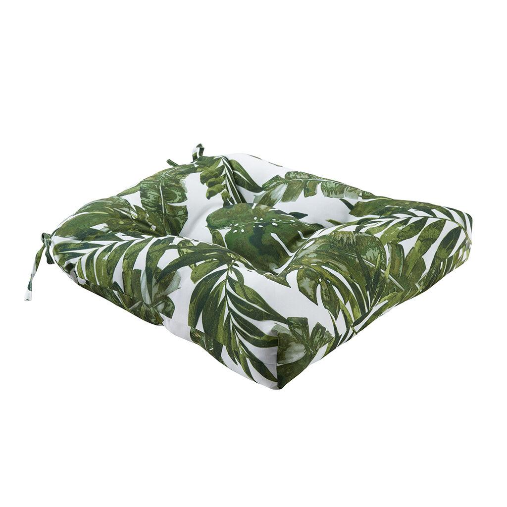 "Madison Park - Everett Printed Palm 3M Scotchgard Outdoor Seat Cushion - Green - 20x20x3"""