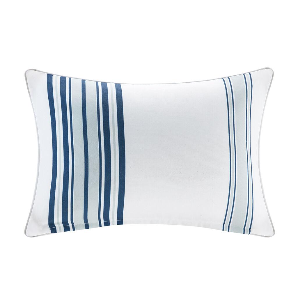 "Madison Park - Newport Printed Stripe 3M Scotchgard Outdoor Oblong Pillow - Navy - 14x20"""
