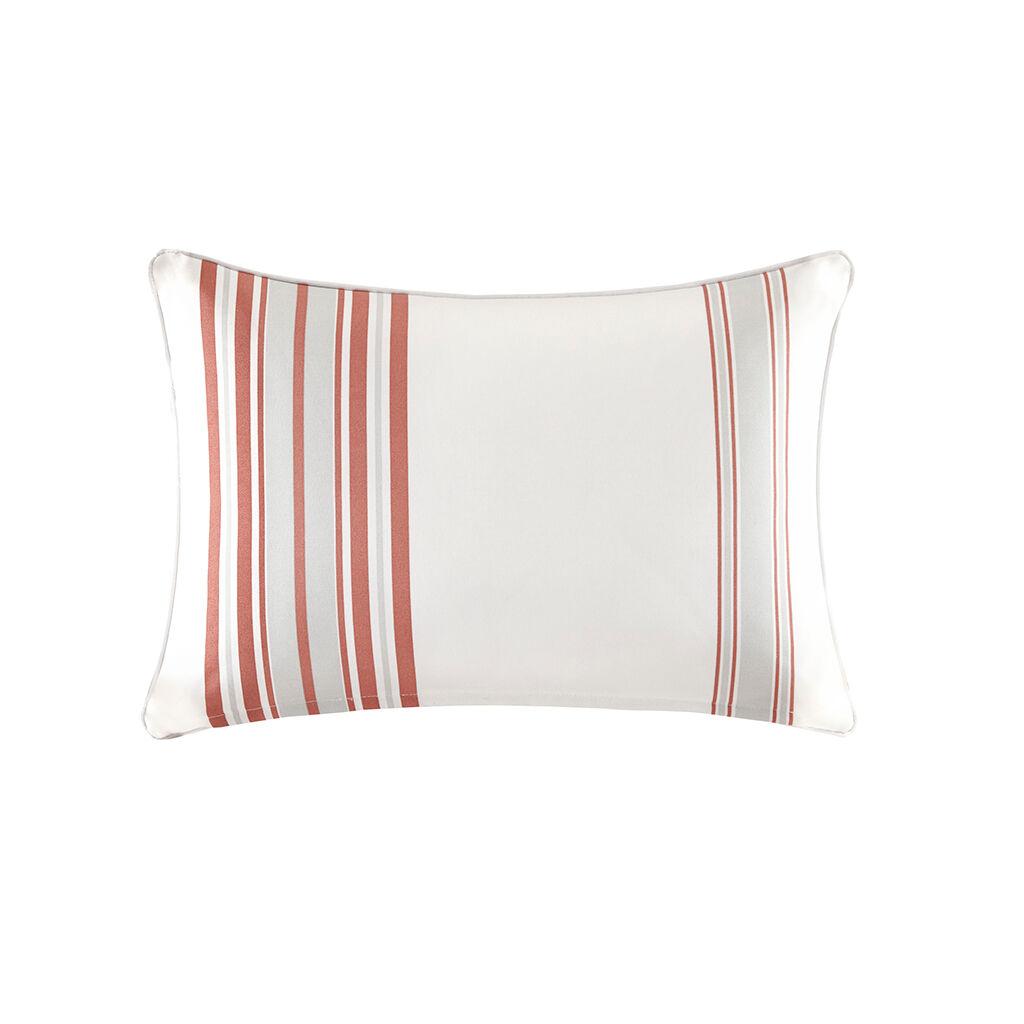 "Madison Park - Newport Printed Stripe 3M Scotchgard Outdoor Oblong Pillow - Coral - 14x20"""