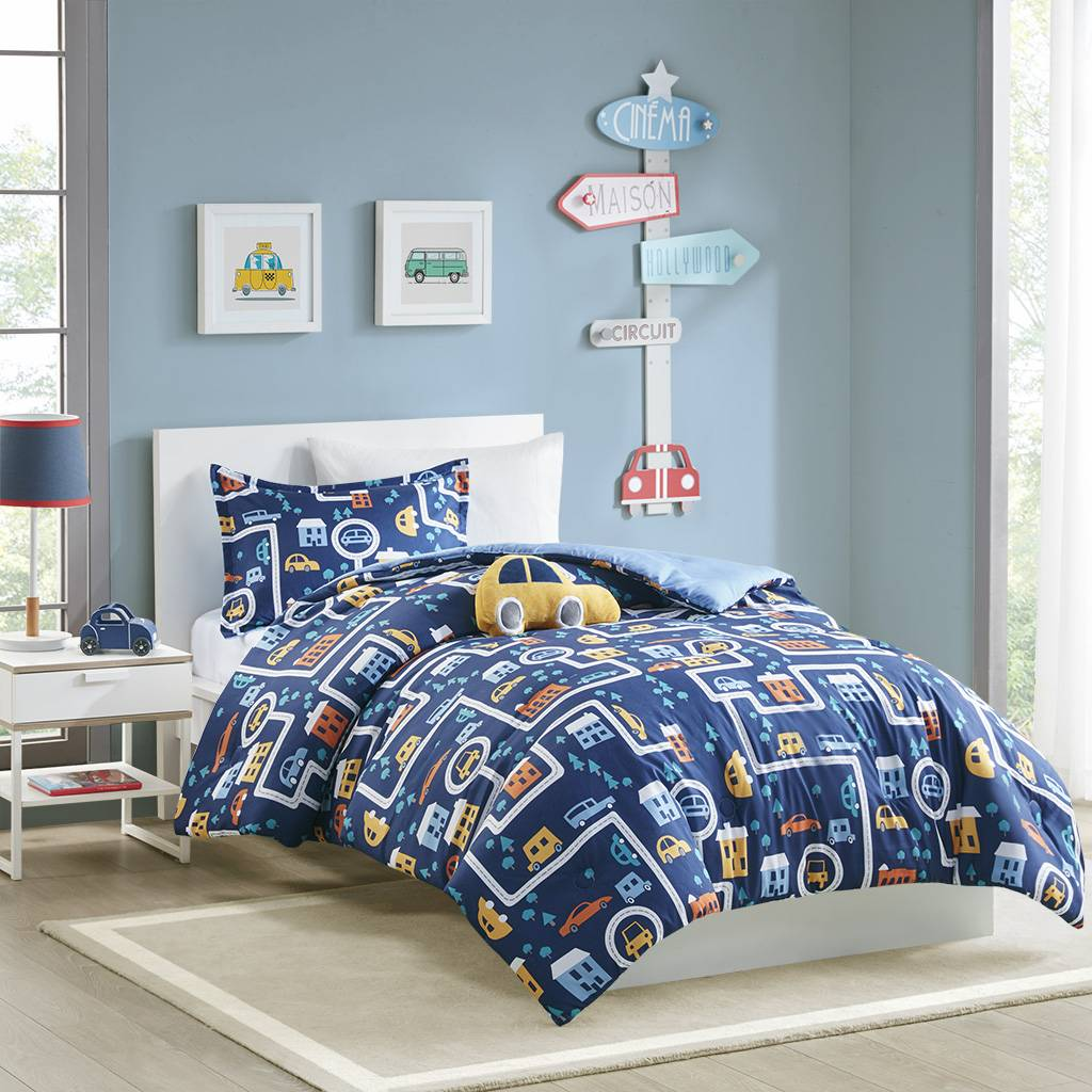 Zone Mi Zone Kids - Brooks Traveling Cars Printed Comforter Set - Navy - Full/Queen