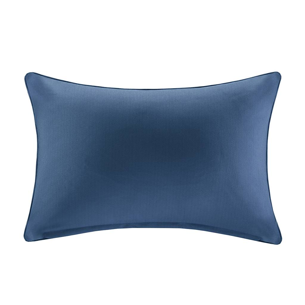 """Madison Park - Pacifica Solid 3M Scotchgard Outdoor Oblong Pillow - Navy - 14x20"""""""