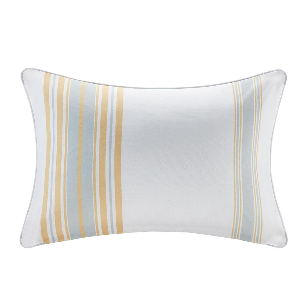 "Madison Park - Newport Printed Stripe 3M Scotchgard Outdoor Oblong Pillow - Yellow - 14x20"""