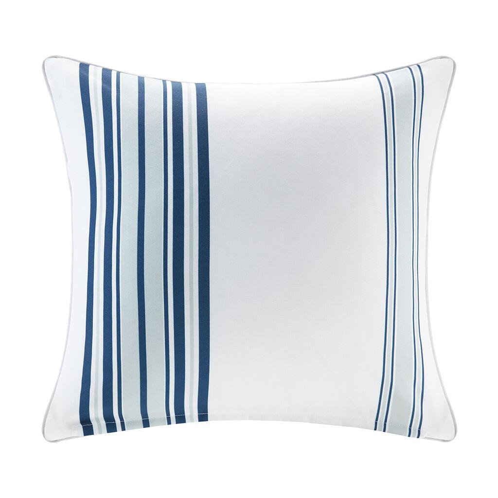 "Madison Park - Newport Printed Stripe 3M Scotchgard Outdoor Square Pillow - Navy - 20x20"""