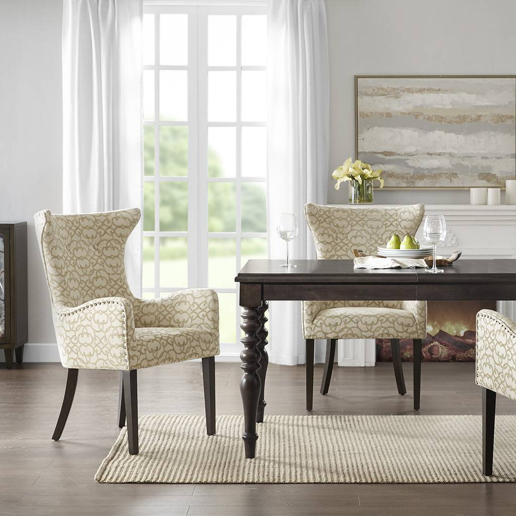 Madison Park - Angelica Arm Dining Chair (set of 2) - Tan - See below