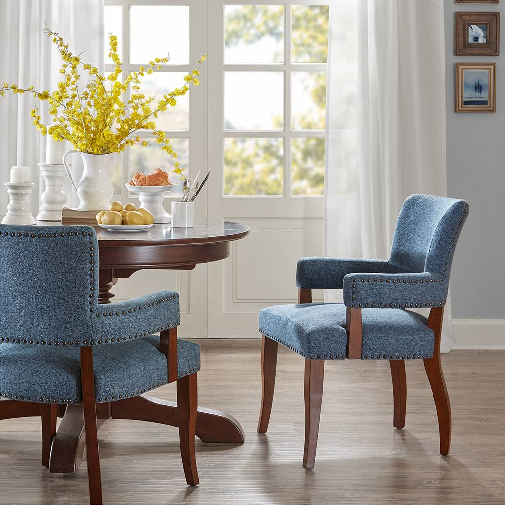 Madison Park - Dawson Arm Dining Chair - Blue - See below