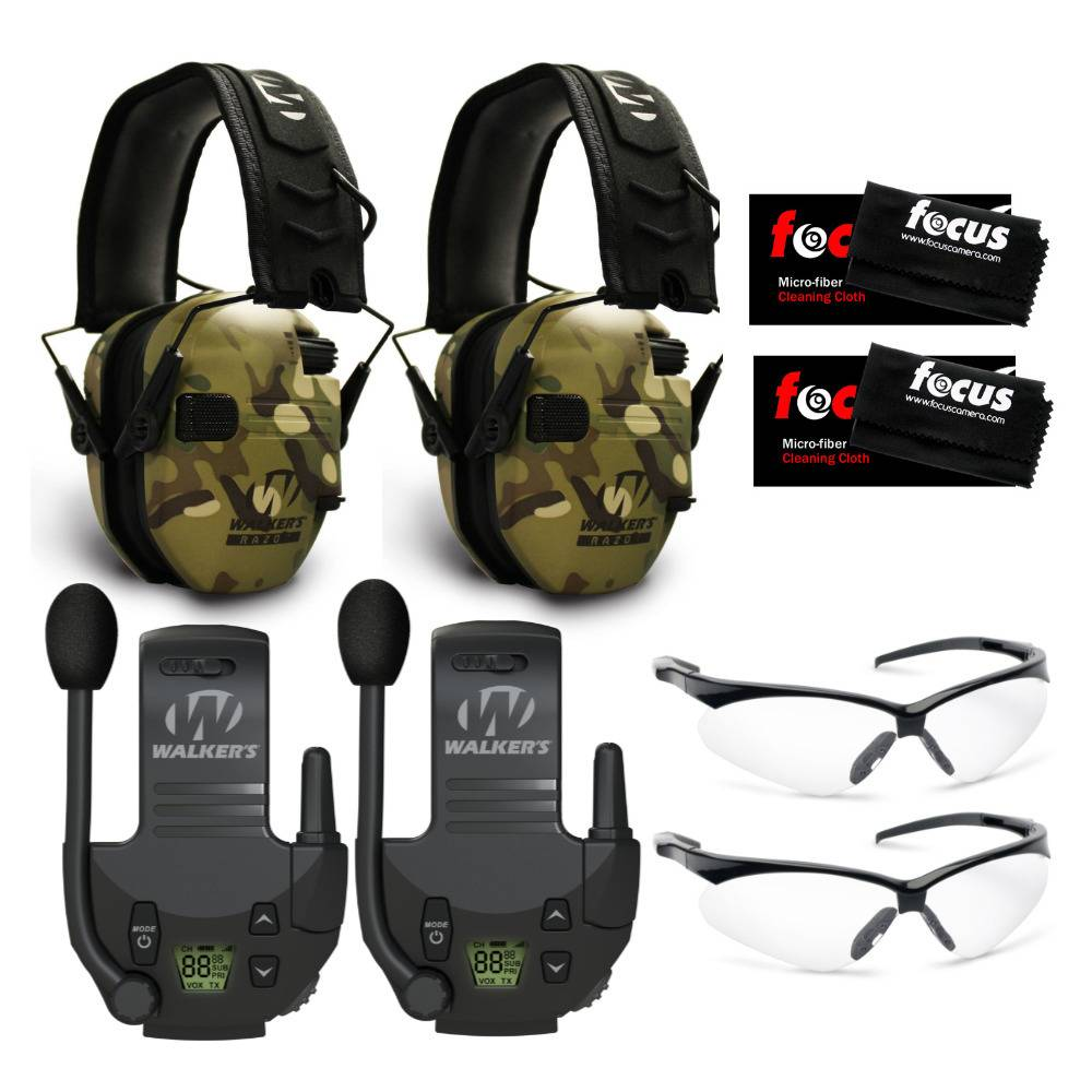 Walkers Walker's Razor Slim Electronic Muffs (MultiCam Camo Tan, 2-Pack) with Walkie Talkie Attachments and Glasses Bundle